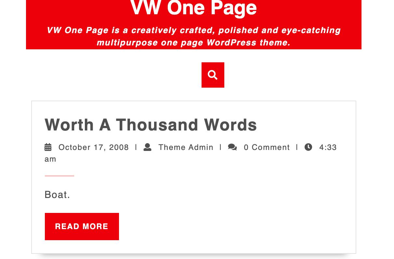 WV One Page Landing Page WordPress Theme