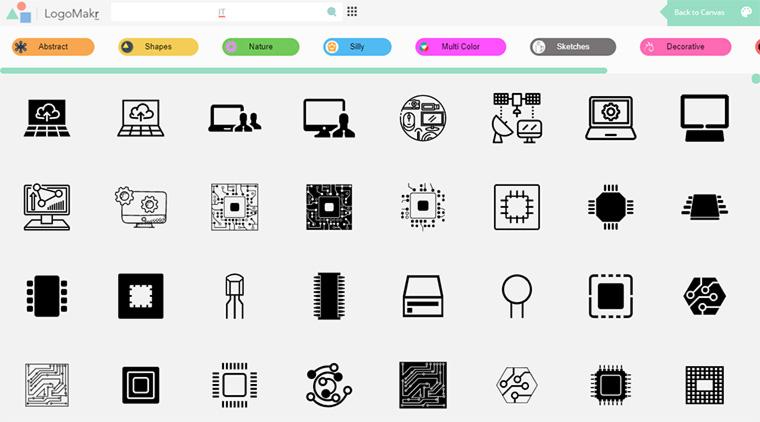 lista de ícones do logomakr