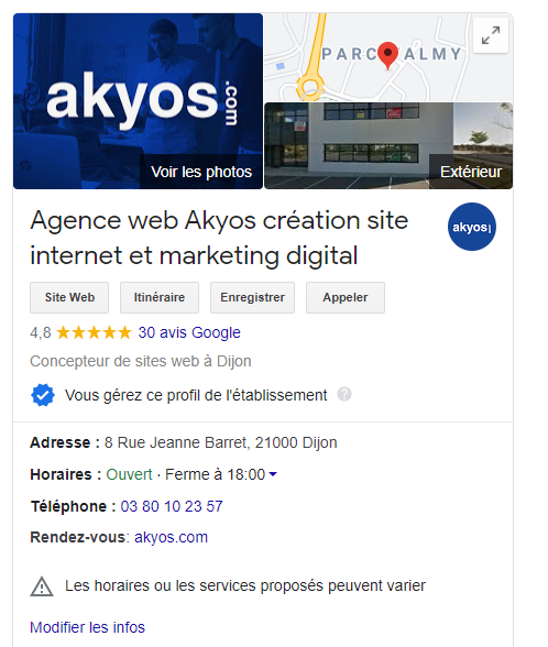 google my business e-réputation- akyos communication