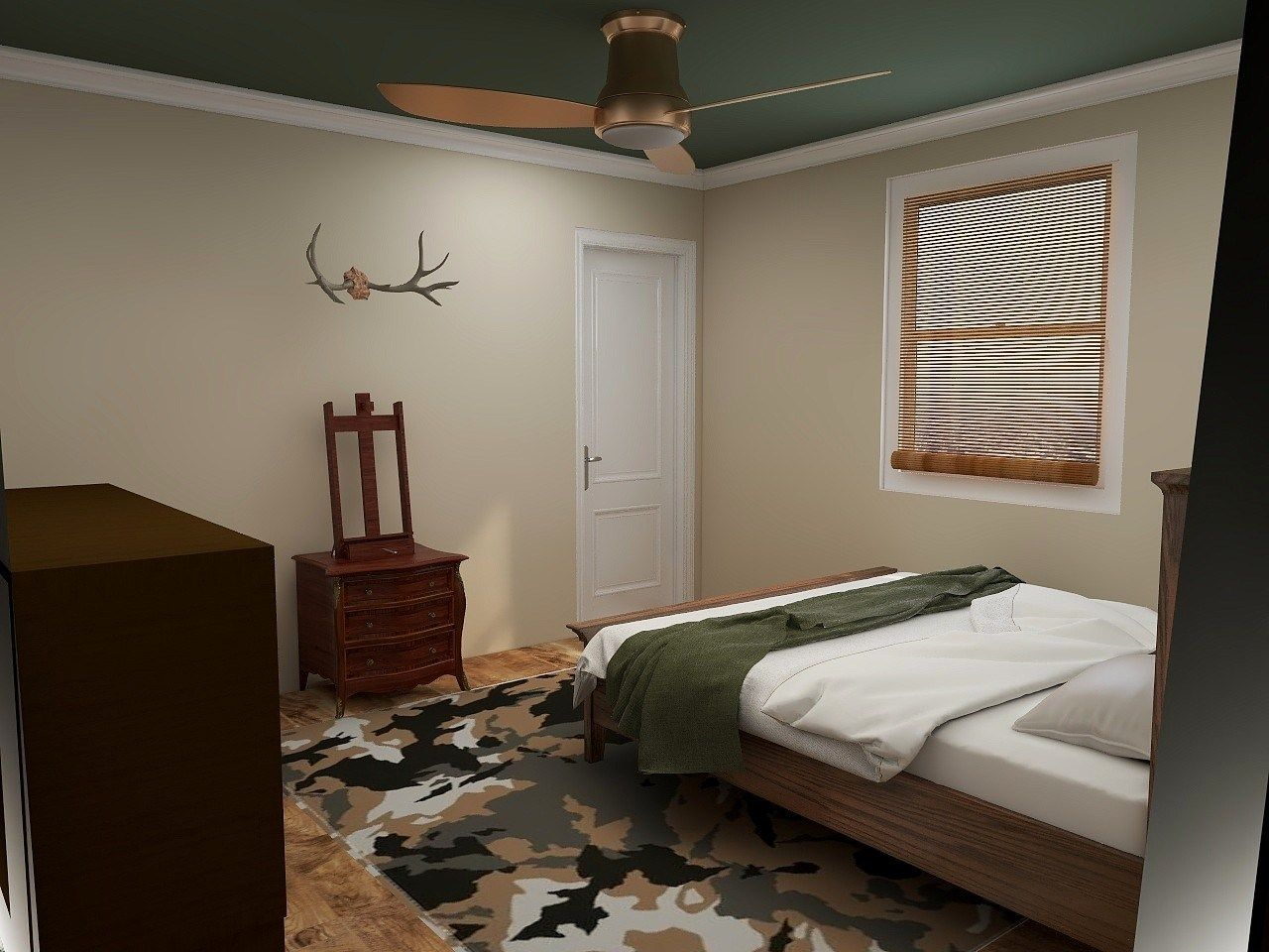 warm and woodsy child's bedroom forest green teal ceiling design concept