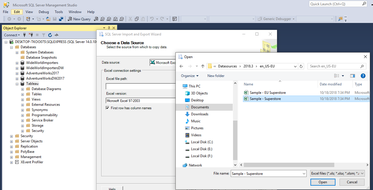 Load Sample Super Store Excel Data into Microsoft Sql Server to Analyze with Tableau 30