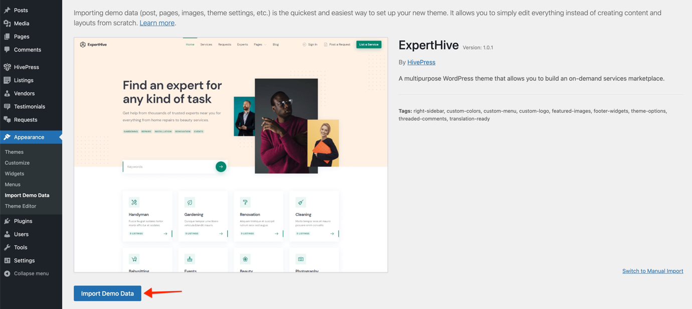 ExpertHive Review - Importing demo data