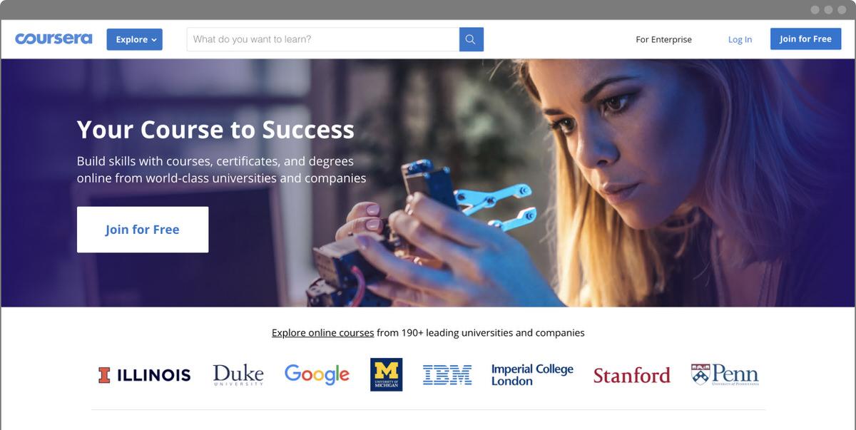 Học online miễn phí trên coursera - Homepage