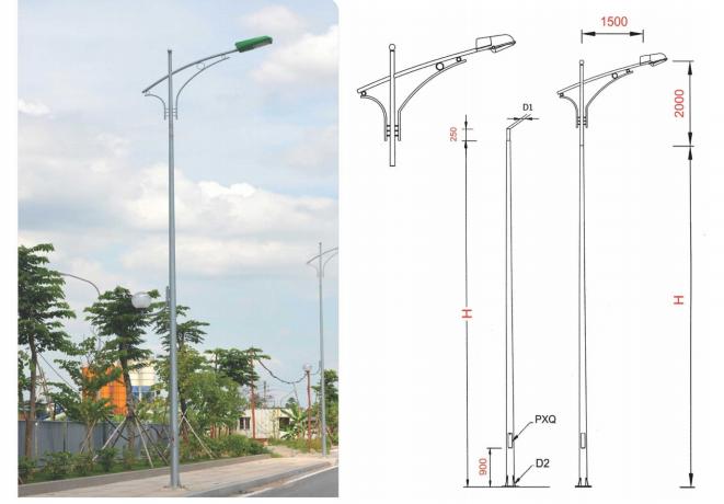 Cột đèn cao áp 7m bát giác rời cần BG7-78 lắp Cần đèn đơn PN01-D