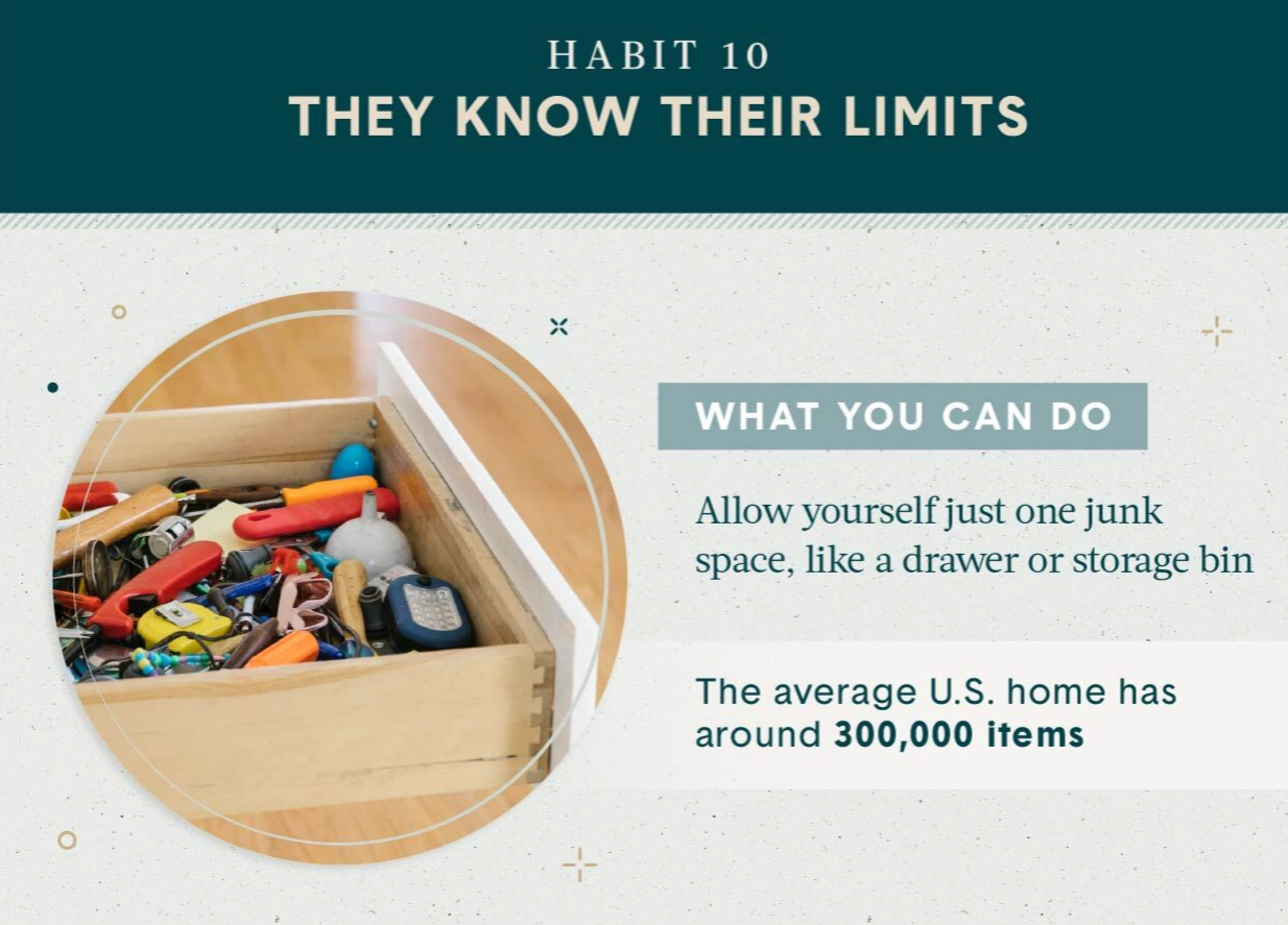 Home organization habit 10 is about keeping one drawer for junk or a storage bin graphic shows a messy junk drawer