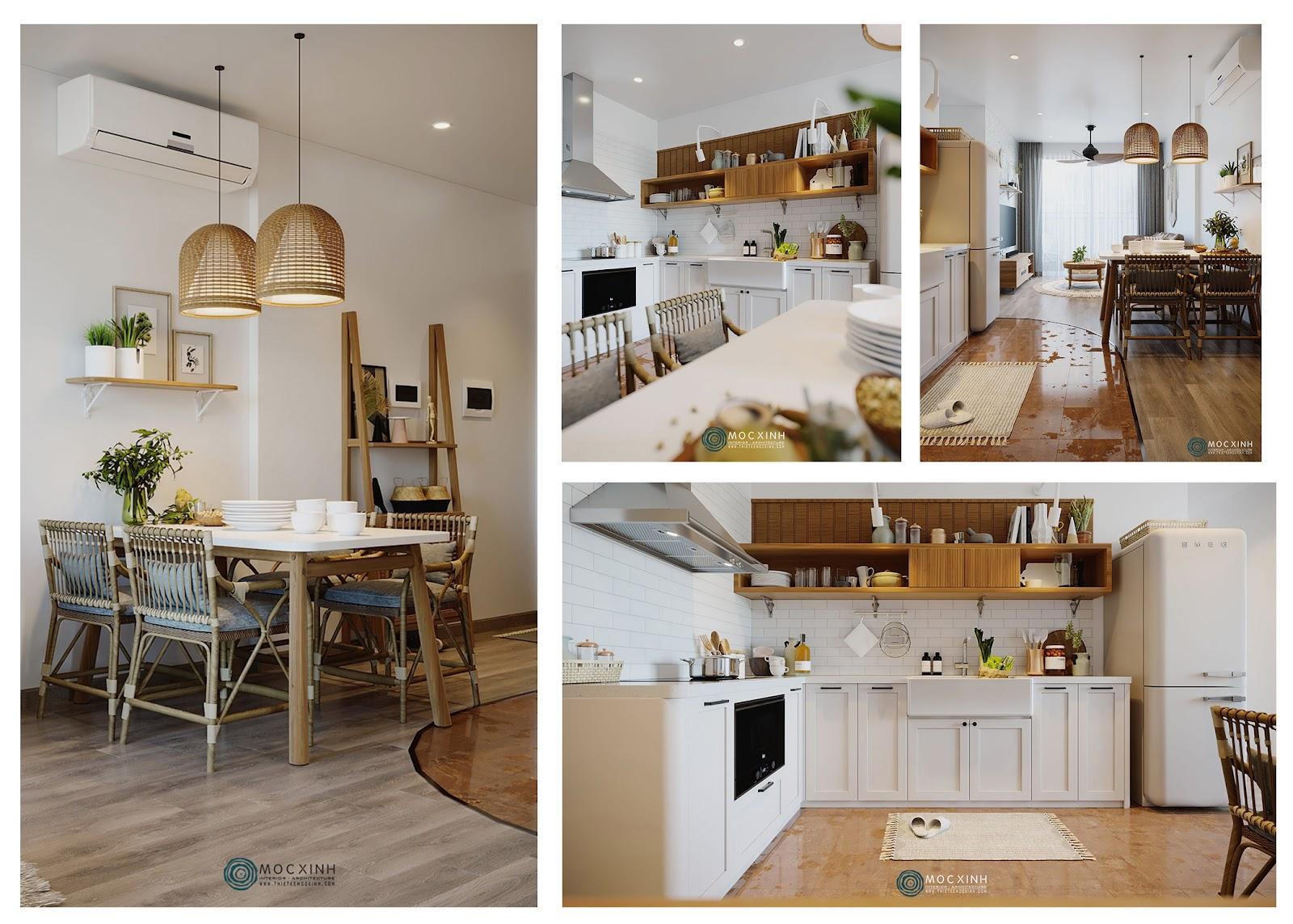 Thiết kế nội thất phòng bếp phòng ăn homestay tiện nghi ấm cúng