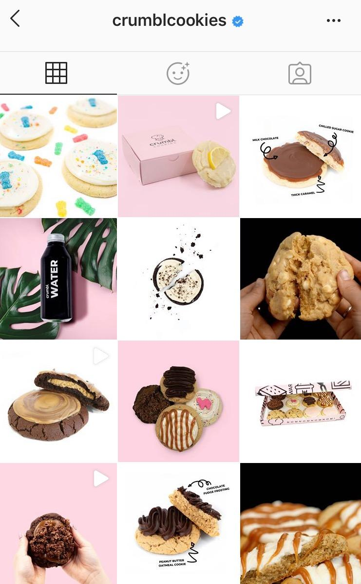Crumbl' Cookies visual branding theme