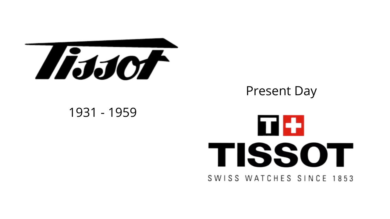 Two different versions of the Tissot logo, one is from the past and one is the present logo Tissot have today