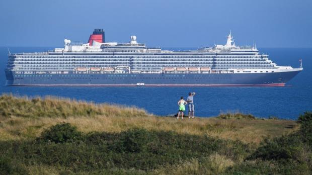 Cunard ship Queen Victoria anchored in the English Channel.