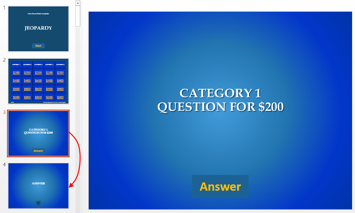 4 easy steps to make jeopardy game in powerpoint add the fourth slide set layout correct answer it will look like this solutioingenieria Images