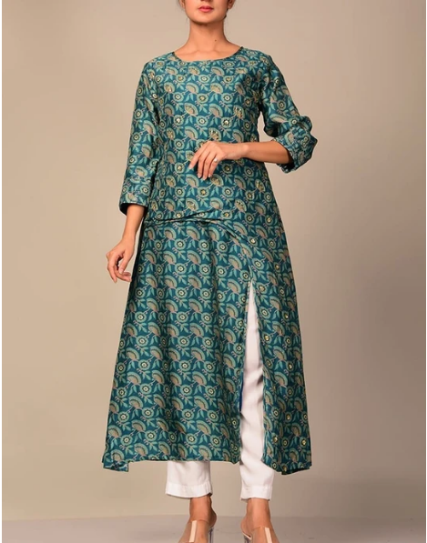Cobalt Blue Printed Kurti For Women