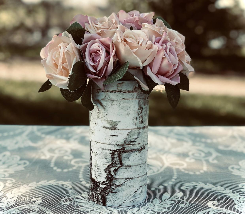 faux birch bark vases for wedding decor