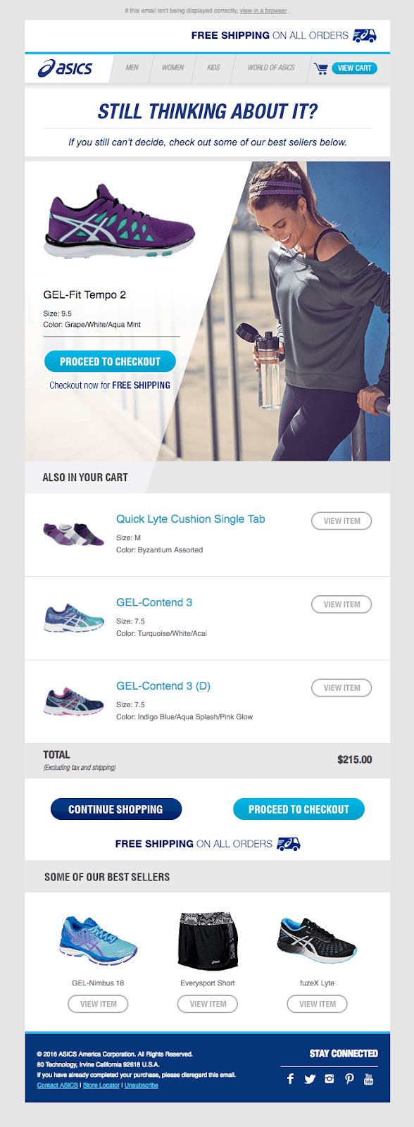 Another great way you can personalize your emails is by using your subscriber's browsing data. Here's a great example by Asics below:
