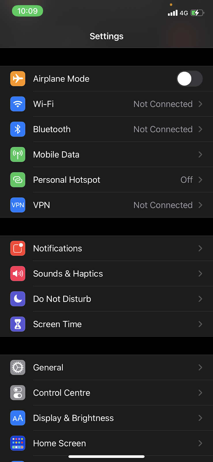The General option in the iPhone settings