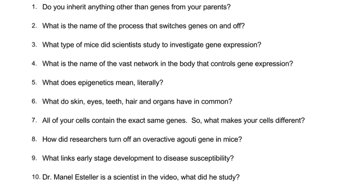 Ghost in your genes 2 Google Docs – Gene Expression Worksheet