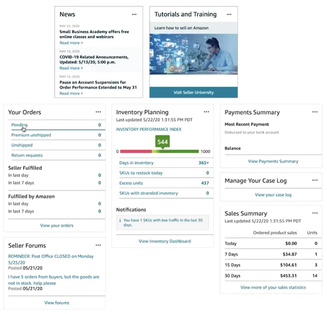 Amazon dashboard screenshot