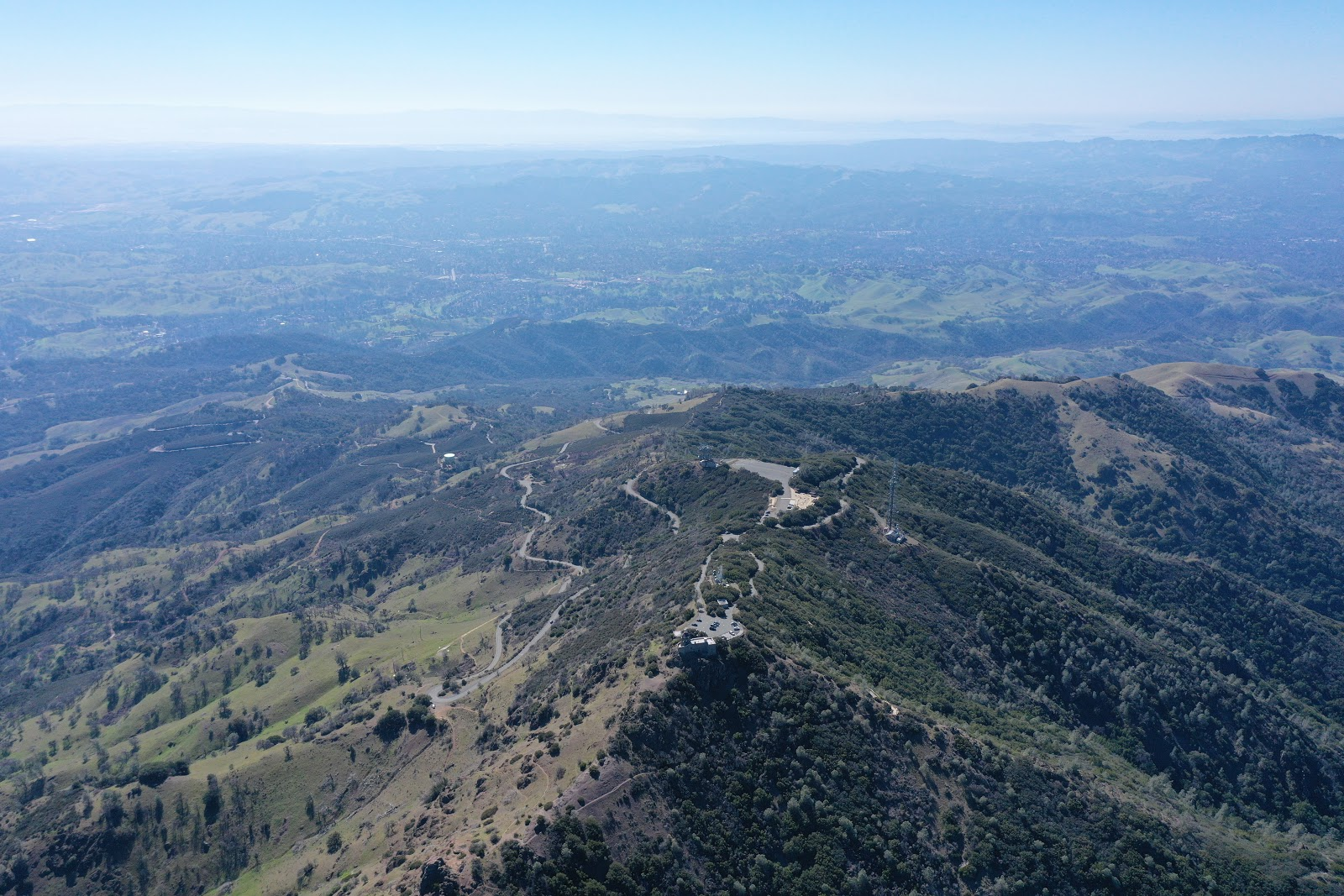 Bicycle ride and climb Mt. Diablo - Summit Road, Visitor Center, Beacon - aerial drone photo