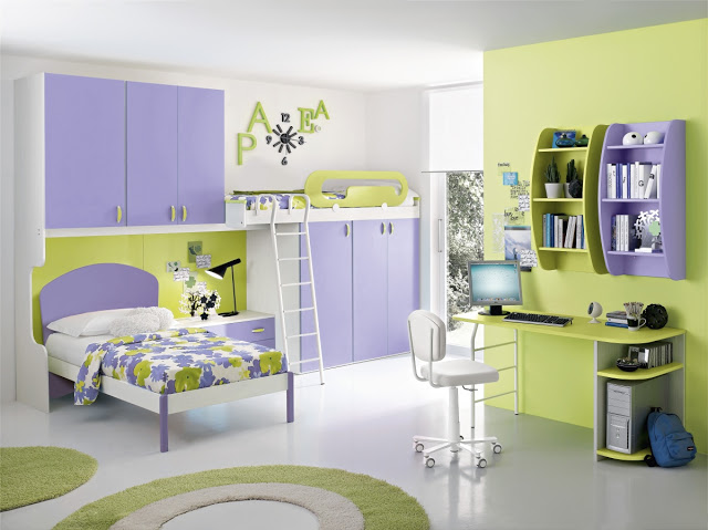 Purple Accent in A Green Bedroom