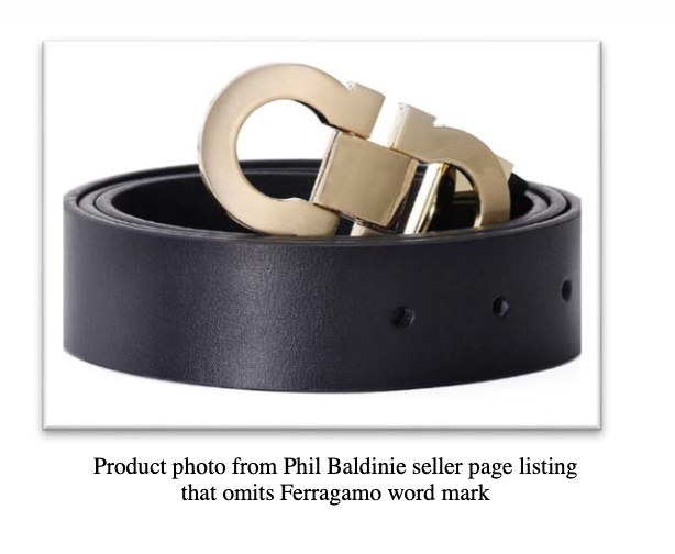 A screenshot from the complaint, showing a belt with the Ferragamo word mark omitted.