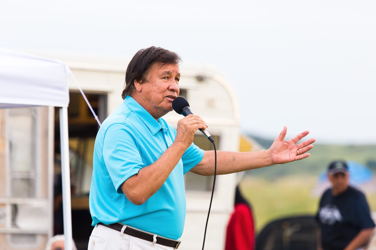 Olympic gold medalist Billy Mills addresses camp on how the past ties into the challenges today. (Photo: Alex Hamer)