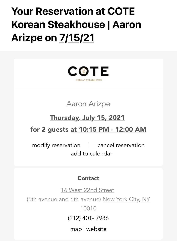 Cote reservation confirmation