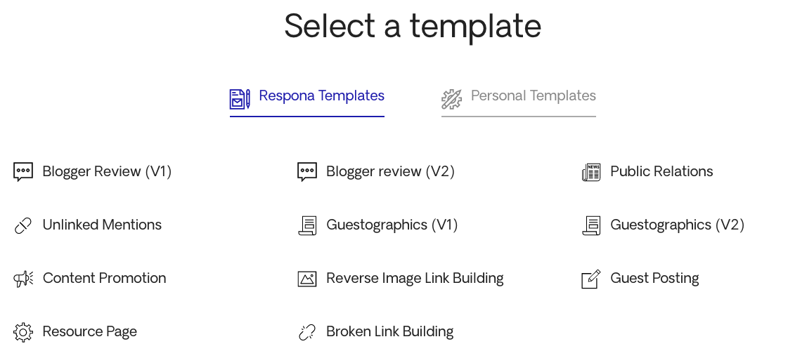 Template options for outreach campaigns in Respona