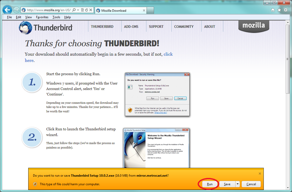 click on run to install thunderbird