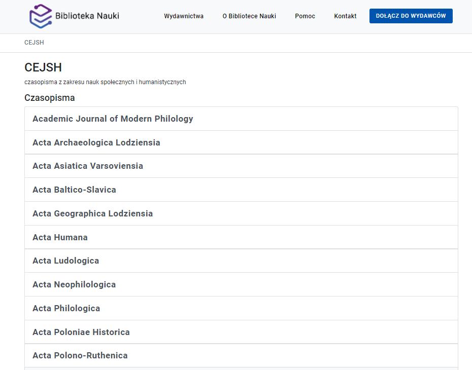 Widok listy czasopism w bazie CEJSH.