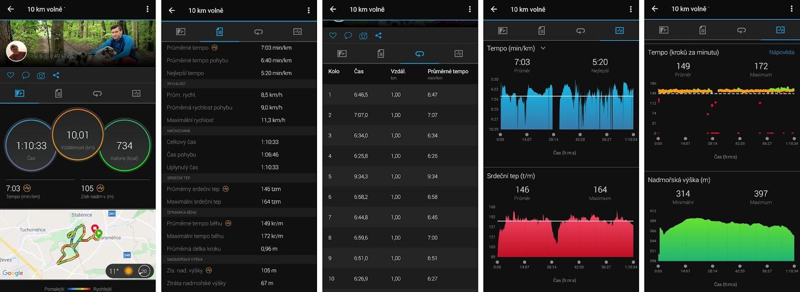 Aplikace Garmin - běh 10 km