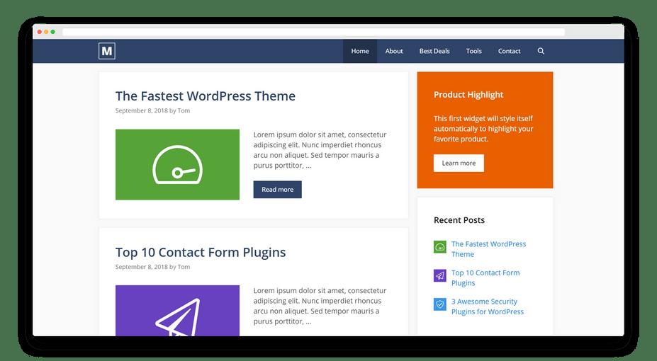 GeneratePress là một chủ đề Elementor miễn phí tuyệt vời