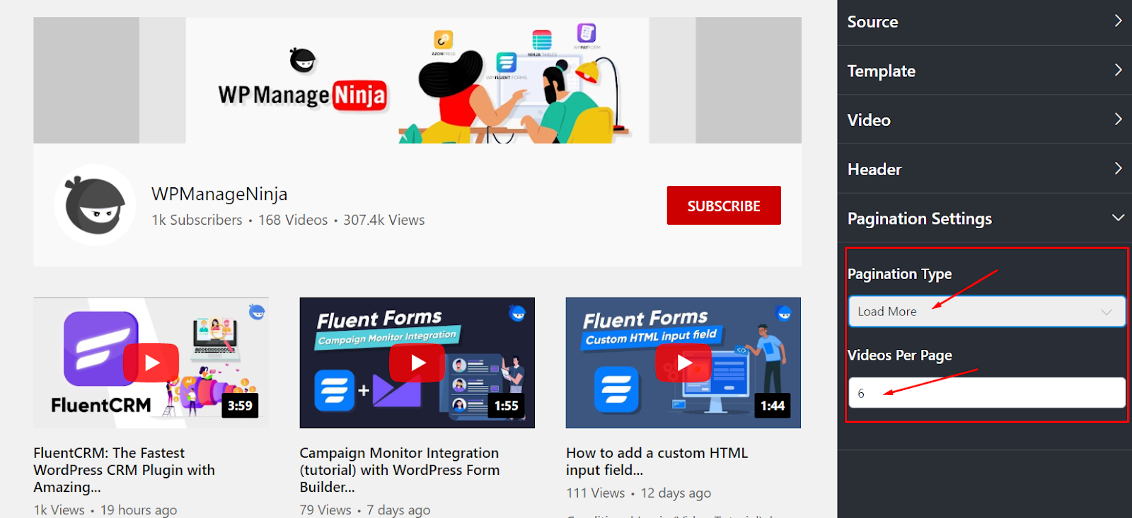 Pagination type youtube settings
