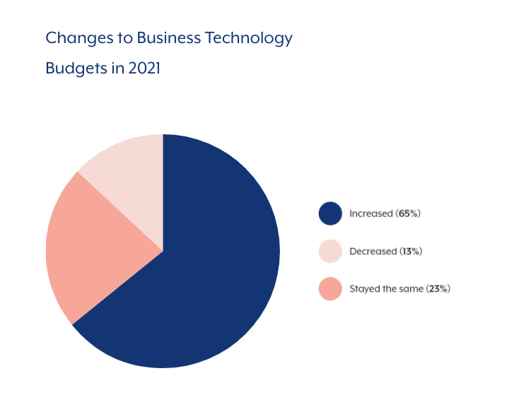 A pie chart that shows how BT budget has changed over the past year