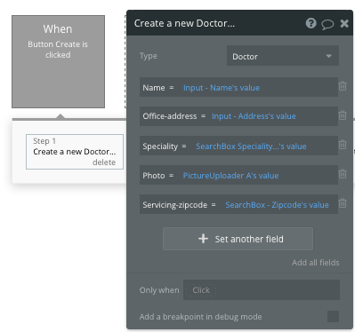 Creating a doctor in a Zocdoc clone using Bubble's no-code development tool
