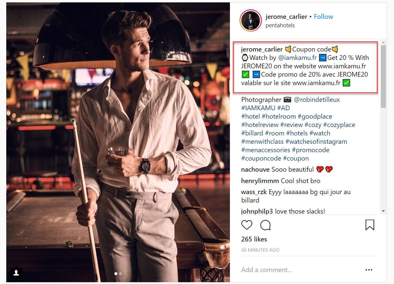Instagram affiliate marketing example