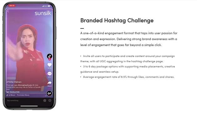 A screenshot of a Brand Hashtag Takeover on TikTok