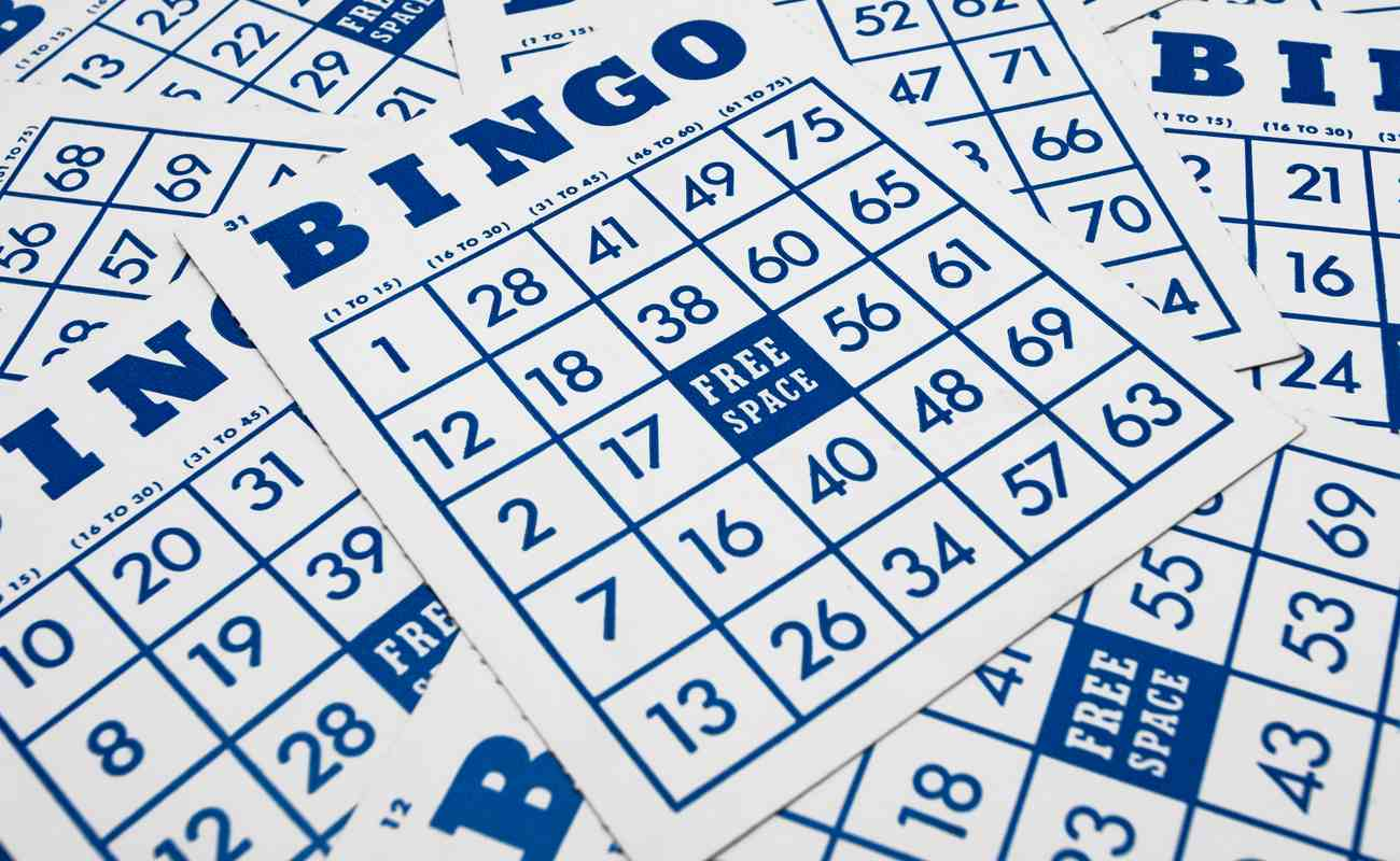 Bingo numbers with blue and white background.