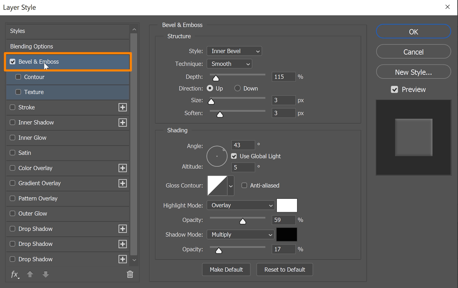 If you want to add more dimension to your text,  check the box for Bevel & Emboss to add it as a layer style