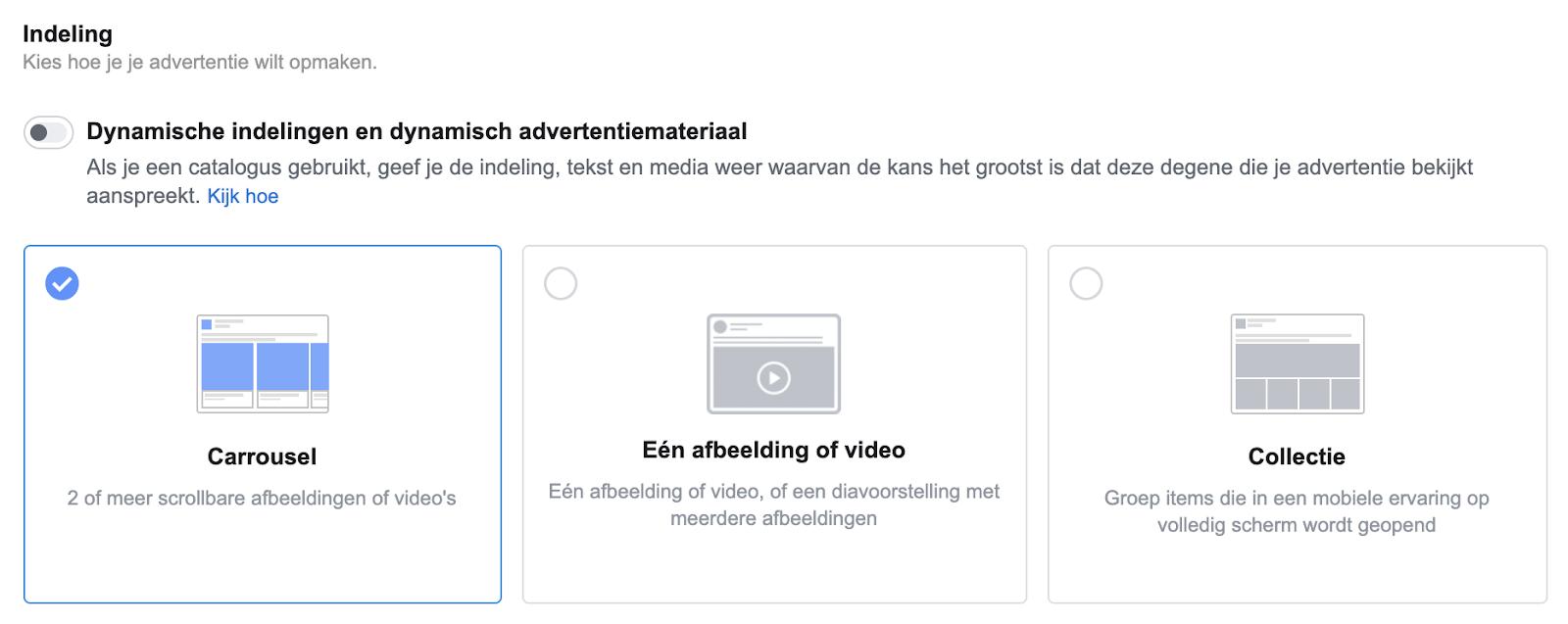Facebook campagne advertentie-indeling