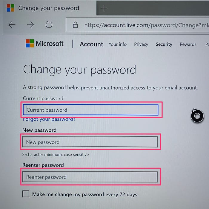"""Step 4:  Provide current password, enter and re-enter new password. Click """"Save""""."""