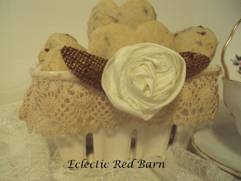 Electic Red Barn: Cherry Scones in White Ceramic Strawberry Basket