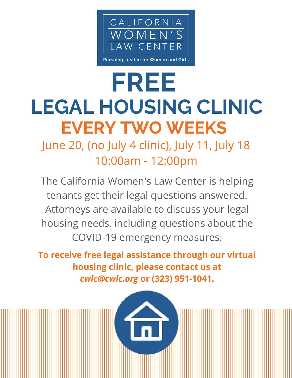 Califonia Women's Law Center Free Legal Housing Clinic
