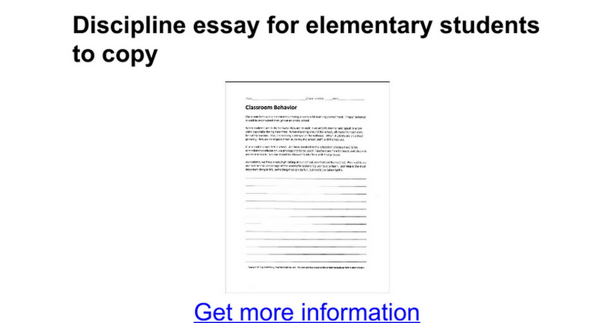 discipline essay to copy