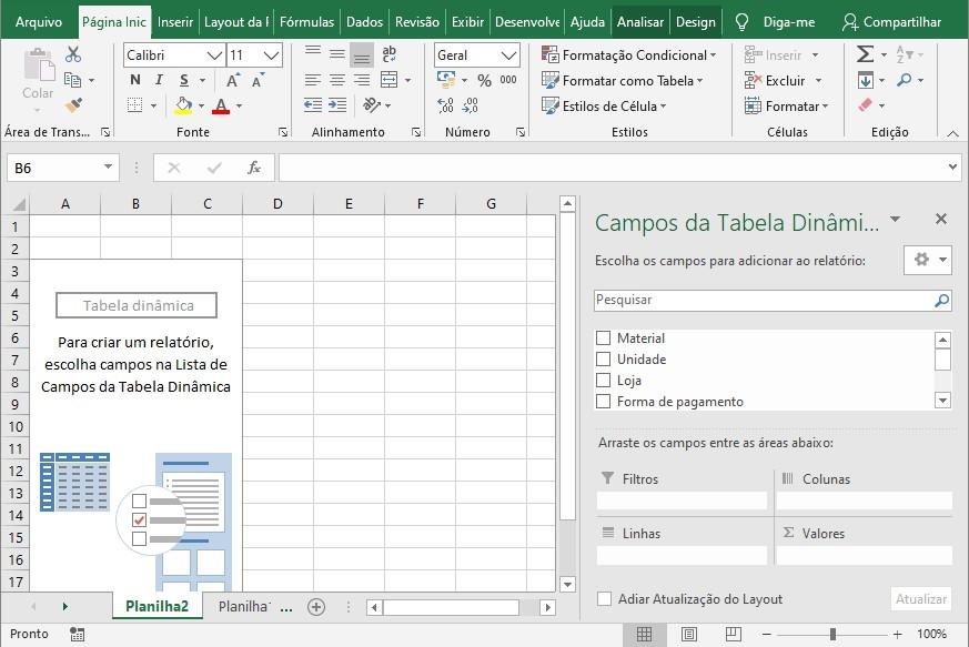Aparência inicial após criar tabela dinâmica.