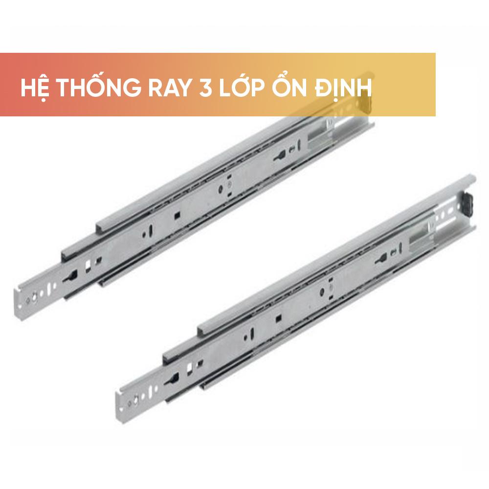 Hệ thống ray trượt 3 lớp ổn định, hai hàng bi được tích hợp sẵn trong ray