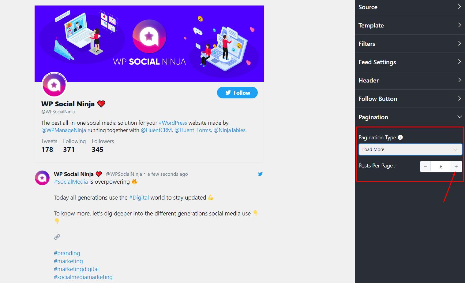 Twitter settings pagination type
