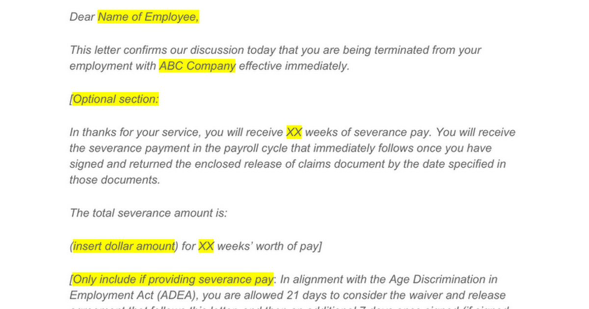 Free Termination Letter Template For Employees 40 Years Of Age Or