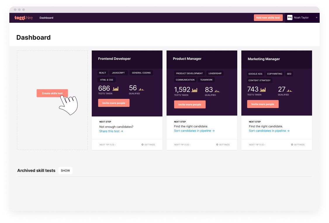 toggl hire dashboard