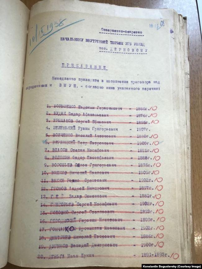 Первая из четырех страниц списка приговоренных, подписанного Павлом Чистовым