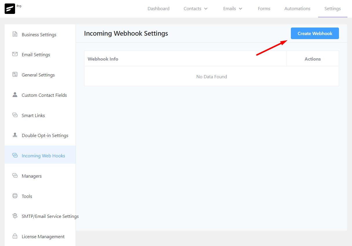 fluentcrm webhook configuration, fluentcrm incoming webhook