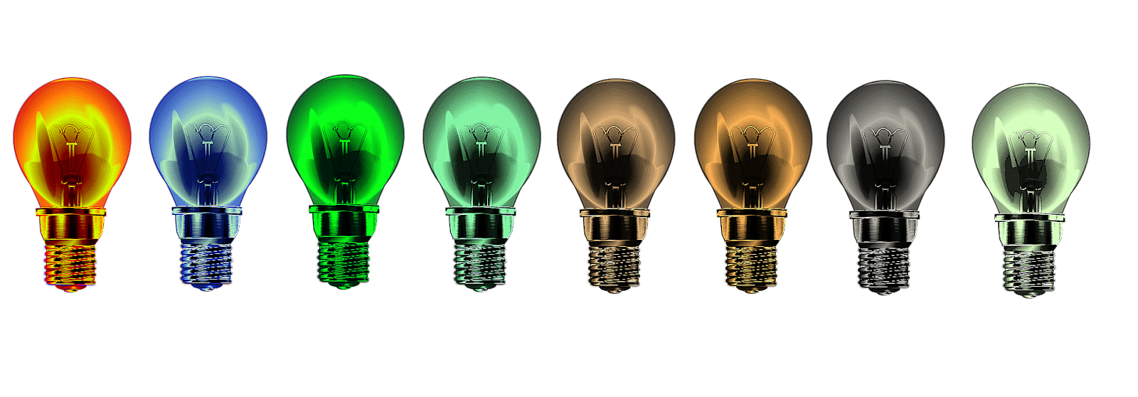 Coloured lightbulbs, remote working